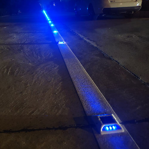 Blue Solar Powered Road Stud in Colombia